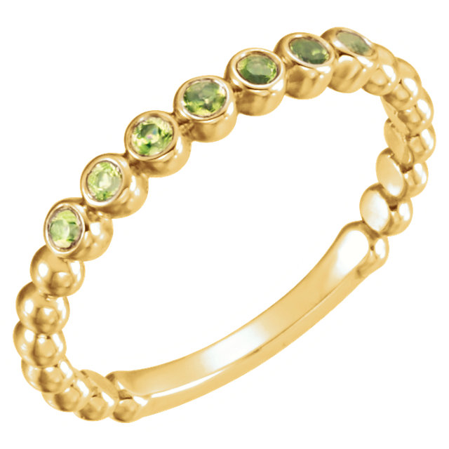 Fabulous 14 Karat Yellow Gold Round Genuine Peridot Stackable Ring