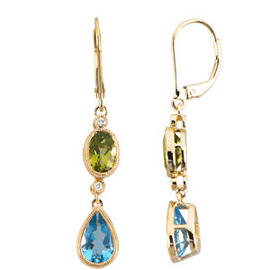 14KT Yellow Gold Peridot, Swiss Blue Topaz & .04 Carat Total Weight Diamond Earrings