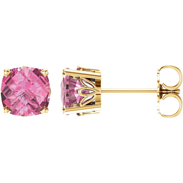Very Nice 14 Karat Yellow Gold Pink Topaz Earrings