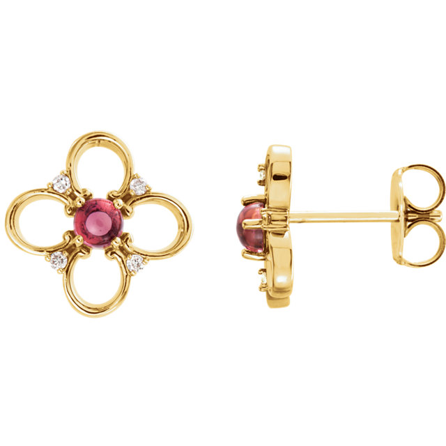 14 Karat Yellow Gold Pink Tourmaline & .04 Carat Diamond Earrings