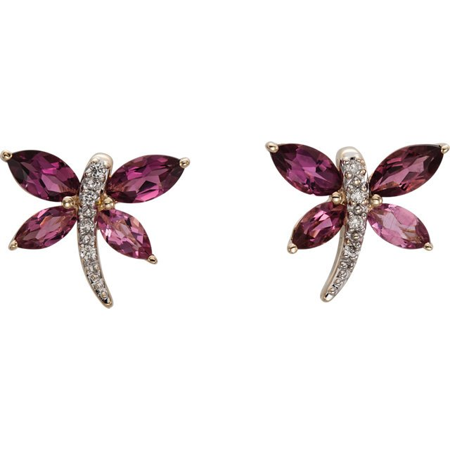 14KT Yellow Gold Pink Tourmaline & .04 Carat Total Weight Diamond Earrings