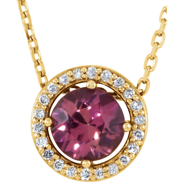 Must See 14 Karat Yellow Gold Pink Tourmaline & .06 Carat Total Weight Diamond 16