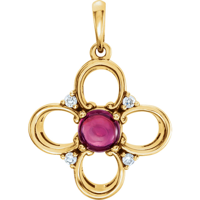 Chic 14 Karat Yellow Gold Pink Tourmaline & .06Carat Total Weight Diamond Clover Pendant