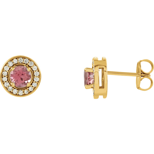 Genuine 14 Karat Yellow Gold Pink Tourmaline & 0.20 Carat Diamond Earrings