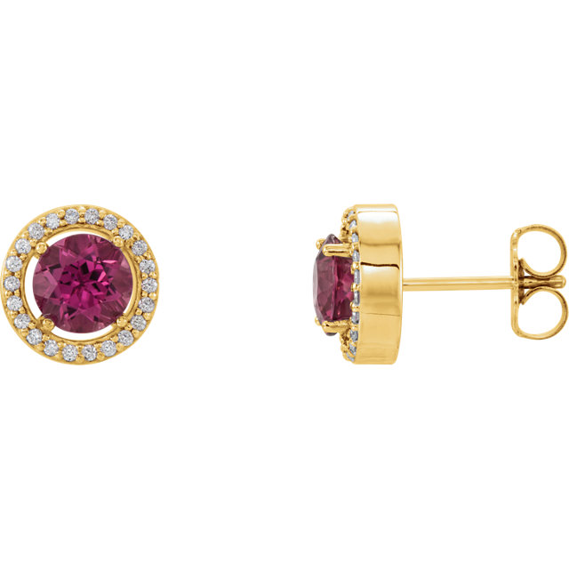 14 Karat Yellow Gold Pink Tourmaline & 0.12 Carat Diamond Earrings