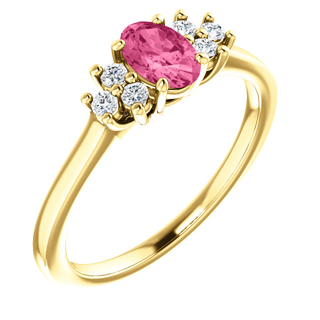 Eye Catchy 14 Karat Yellow Gold Pink Tourmaline  & 0.12 Carat Total Weight Diamond Ring