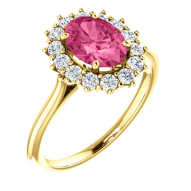 Contemporary 14 Karat Yellow Gold Pink Tourmaline & 0.40 Carat Total Weight Diamond Ring