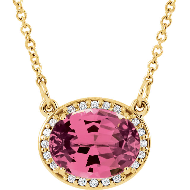 Surprise Her with  14 Karat Yellow Gold Pink Tourmaline and .05 Carat Total Weight Diamond  16.5