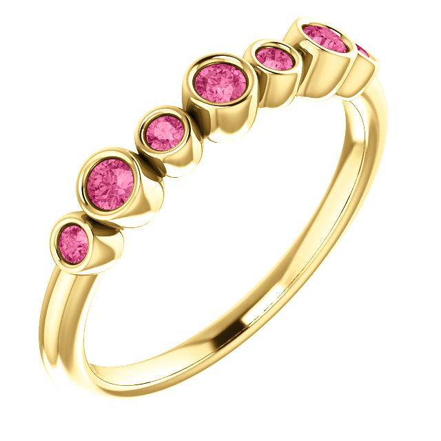 Very Nice 14 Karat Yellow Gold Pink Tourmaline Bezel-Set Ring