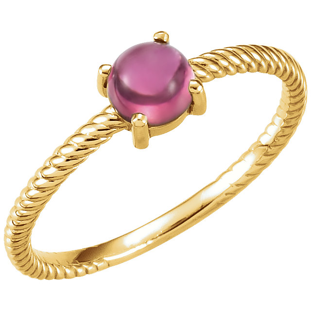 Quality 14 KT Yellow Gold Pink Tourmaline Cabochon Ring