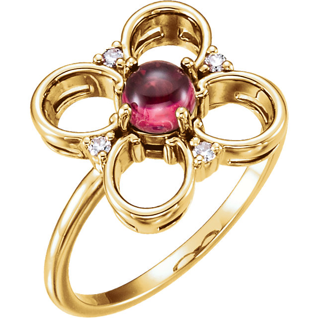 Easy Gift in 14 Karat Yellow Gold Pink Tourmaline & Diamond Clover Ring