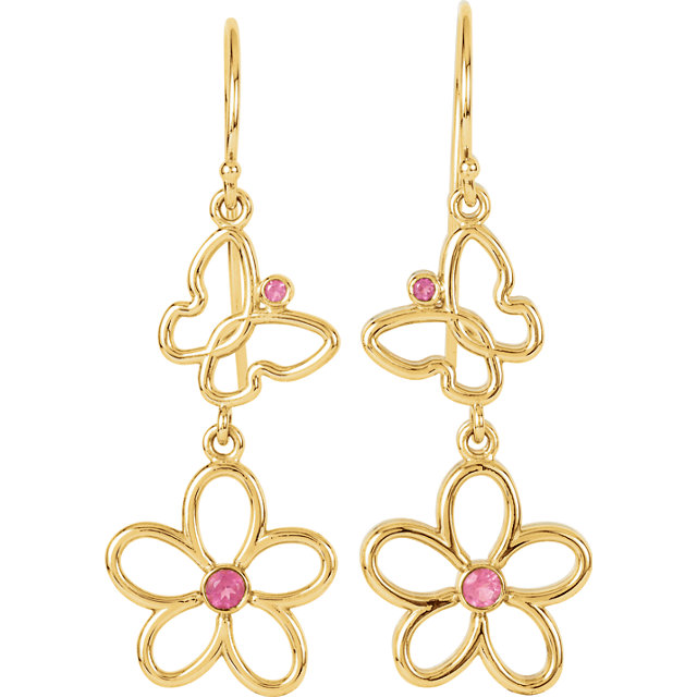 Pleasing 14 Karat Yellow Gold Round Genuine Pink Tourmaline Floral-Inspired & Butterfly Design Earrings