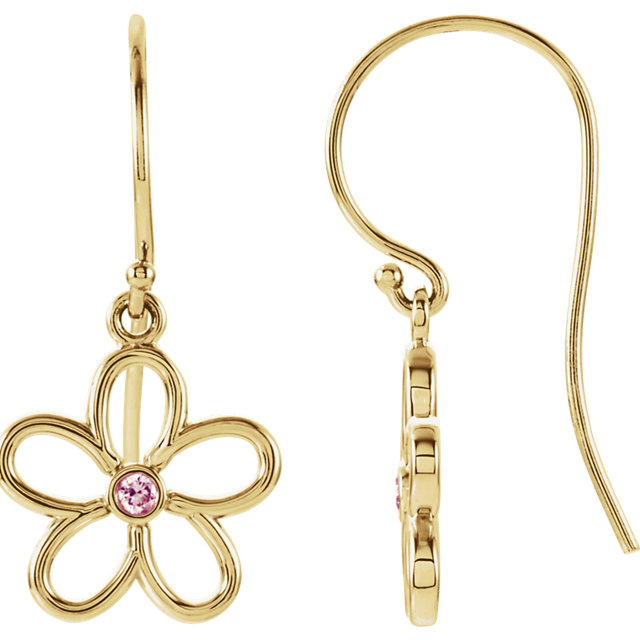 Low Price on Quality 14 KT Yellow Gold Pink Tourmaline Flower Earrings