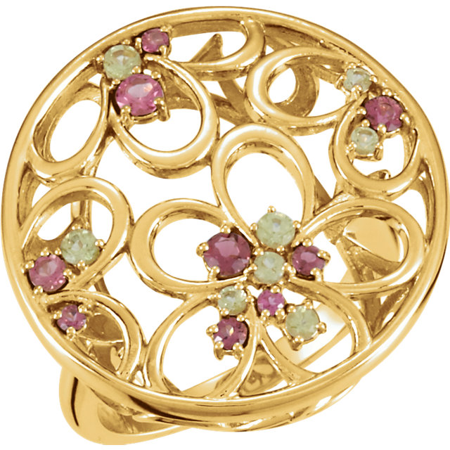Great Buy in 14 Karat Yellow Gold Pink Tourmaline & Peridot Floral-Inspired Ring Size 7