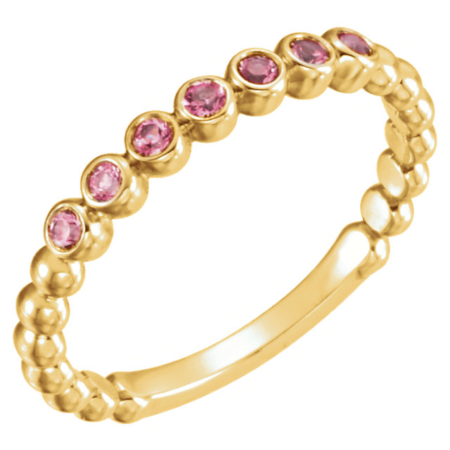 Stunning 14 Karat Yellow Gold Pink Tourmaline Stackable Ring