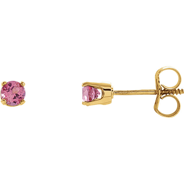 14 Karat Yellow Gold Genuine Pink Tourmaline Earrings