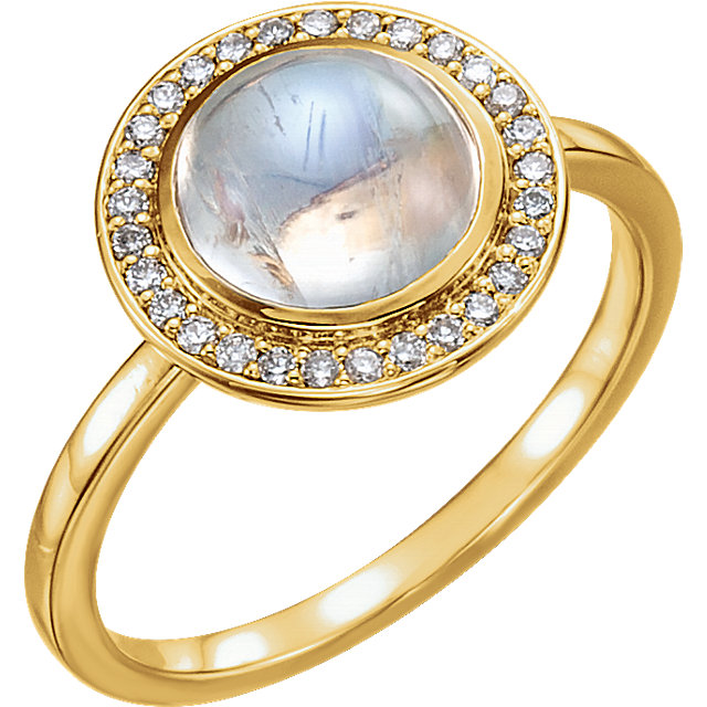 Easy Gift in 14 Karat Yellow Gold Rainbow Moonstone & 0.12 Carat Total Weight Diamond Ring