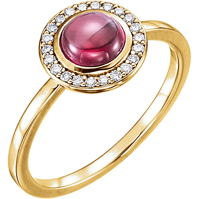 Great Buy in 14 Karat Yellow Gold Rhodolite & 0.10 Carat Total Weight Diamond Ring
