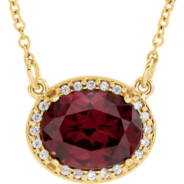 Perfect Jewelry Gift 14 Karat Yellow Gold Rhodolite Garnet & .05 Carat Total Weight Diamond 16