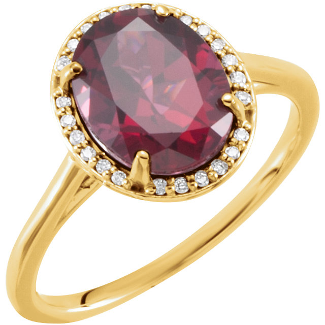 Very Nice 14 Karat Yellow Gold Rhodolite Garnet & .07 Carat Total Weight Diamond Ring