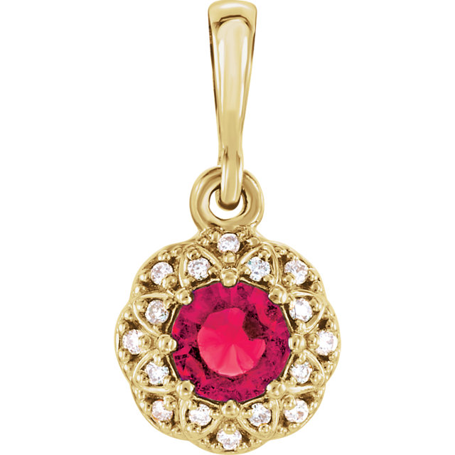 Eye Catchy 14 Karat Yellow Gold Ruby & .04 Carat Total Weight Diamond Halo-Style Pendant