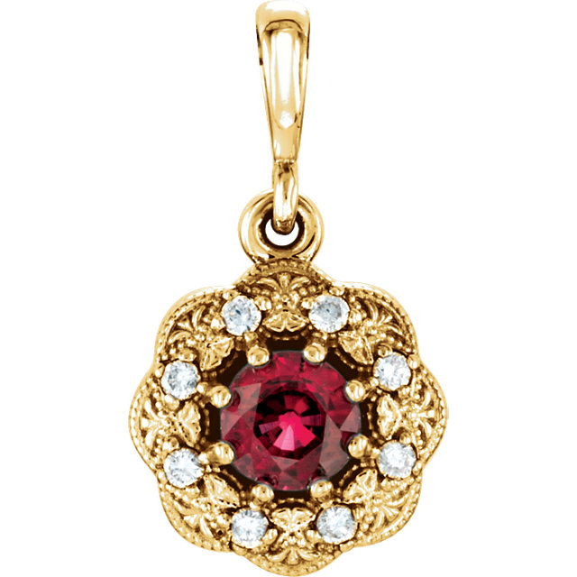 Gorgeous 14 Karat Yellow Gold Ruby & .06 Carat Total Weight Diamond Pendant