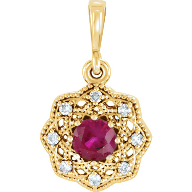Beautiful 14 Karat Yellow Gold Ruby & .06 Carat Total Weight Diamond Halo-Style Pendant