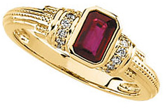 Great Gift in 14 Karat Yellow Gold Ruby & 0.10 Carat Total Weight Diamond Granulated Ring