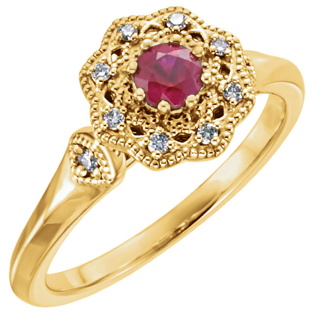 14 Karat Yellow Gold Ruby & 0.10 Carat Diamond Ring