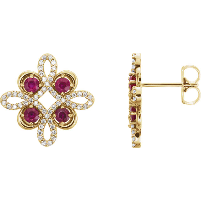 Contemporary 14 Karat Yellow Gold Ruby & 0.25 Carat Total Weight Diamond Earrings