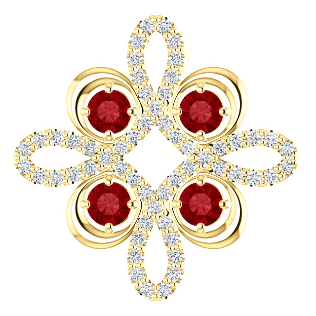 Chic 14 Karat Yellow Gold Ruby & 0.17 Carat Total Weight Diamond Clover Pendant