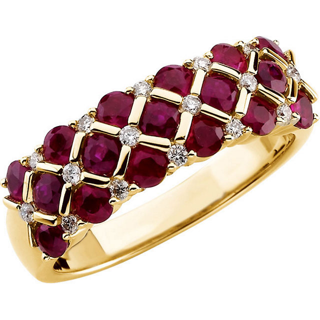 Great Deal in 14 Karat Yellow Gold Ruby & 0.17 Carat Total Weight Diamond Ring
