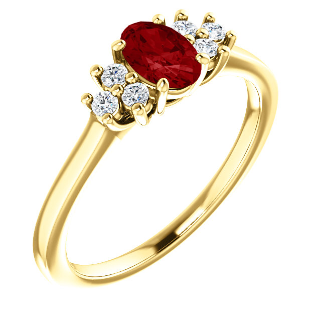 Stunning 14 Karat Yellow Gold Ruby & 0.12 Carat Total Weight Diamond Ring
