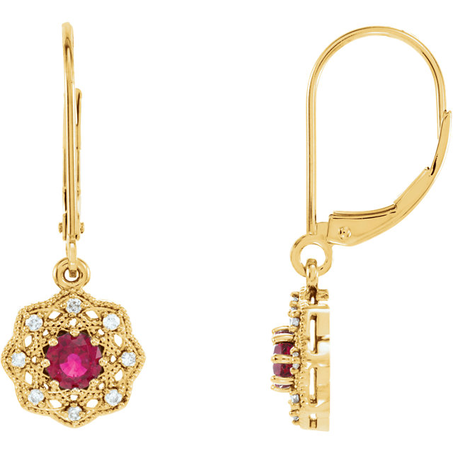 14KT Yellow Gold Ruby & 1/8 CTW Diamond Halo-Style Earrings
