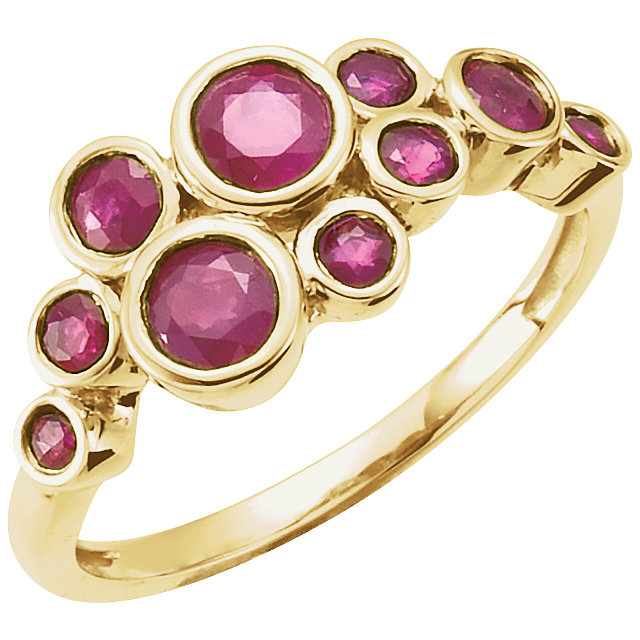 Natural Ruby Ring in 14 Karat Yellow Gold Ruby Bezel-Set Ring