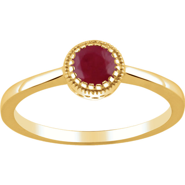 Natural Ruby Ring in 14 Karat Yellow Gold Ruby