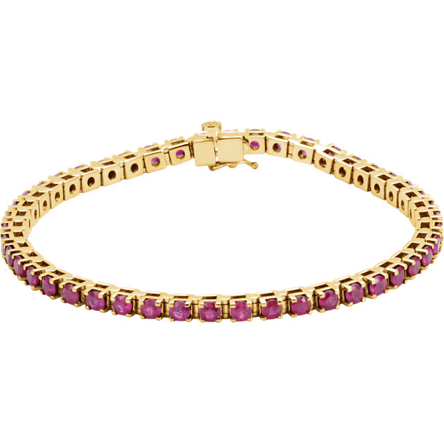 Trendy 14 Karat Yellow Gold Round Genuine Ruby Line Bracelet