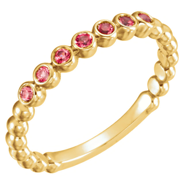Perfect Jewelry Gift 14 Karat Yellow Gold Ruby Stackable Ring