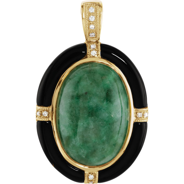 Gorgeous 14 Karat Yellow Gold Russian Jadeite, Onyx & Diamond Pendant