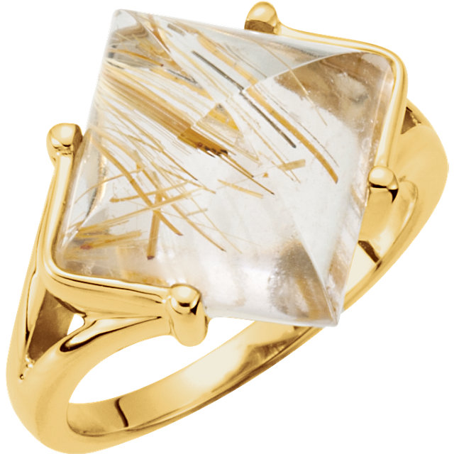 Great Gift in 14 Karat Yellow Gold Rutilated Quartz Ring