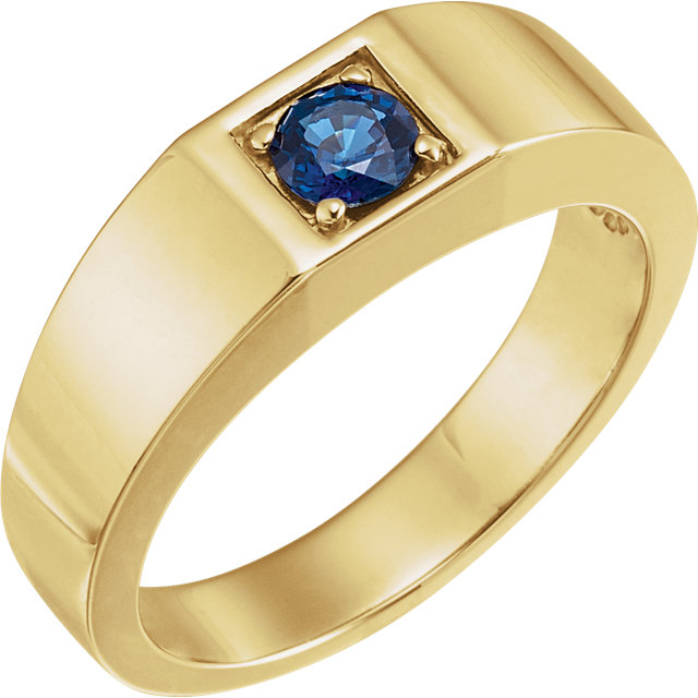 Great Buy in 14 Karat Yellow Gold Sapphire Men's Ring