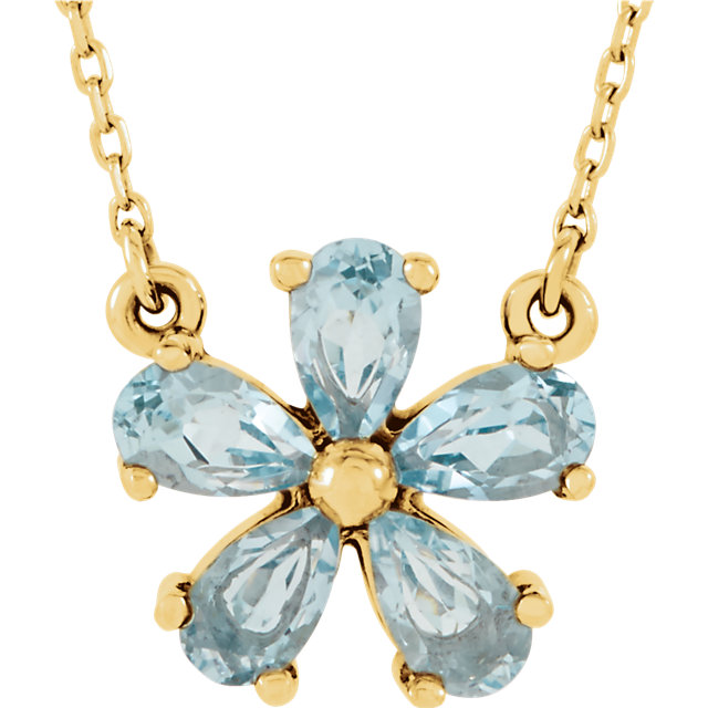 Great Deal in 14 Karat Yellow Gold Sky Blue Topaz 16