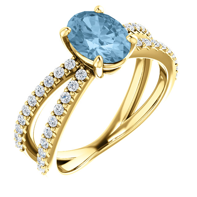 Lovely 14 Karat Yellow Gold Oval Genuine Sky Blue Topaz & 1/3 Carat Total Weight Diamond Ring