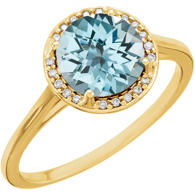 Beautiful 14 Karat Yellow Gold Round Genuine Sky Blue Topaz and .05Carat Total Weight Diamond Ring