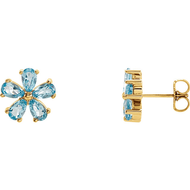 Beautiful 14 Karat Yellow Gold Sky Blue Topaz Earrings
