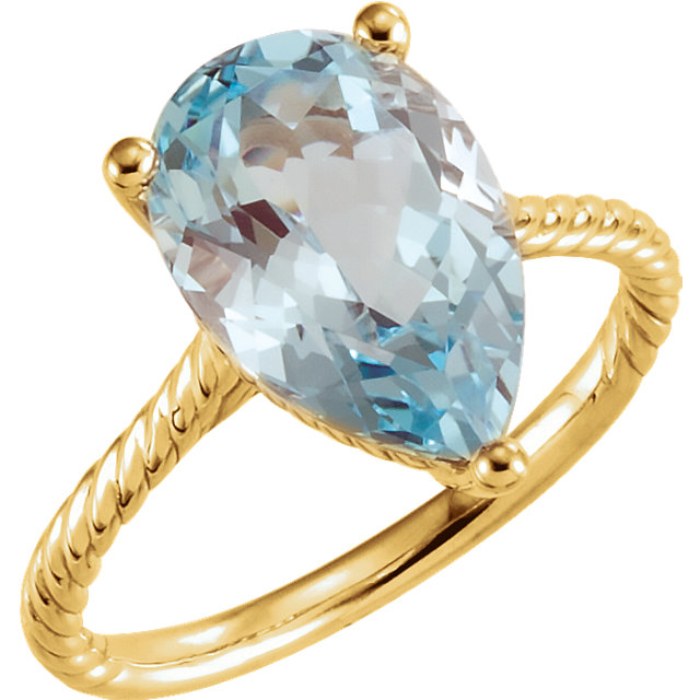 Excellent 14 Karat Yellow Gold Pear Genuine Sky Blue Topaz Rope Ring