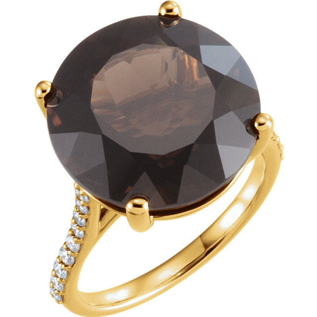 Chic 14 Karat Yellow Gold Smoky Quartz & 0.25 Carat Total Weight Accented Diamond Ring