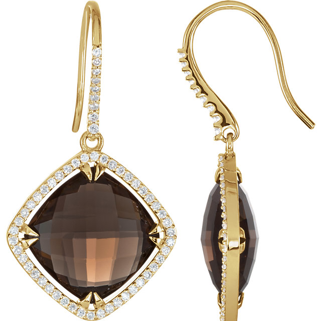 Contemporary 14 Karat Yellow Gold Smoky Quartz & 0.60 Carat Total Weight Diamond Halo-Style Earrings