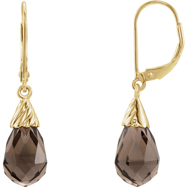 Easy Gift in 14 Karat Yellow Gold Smoky Quartz Earrings