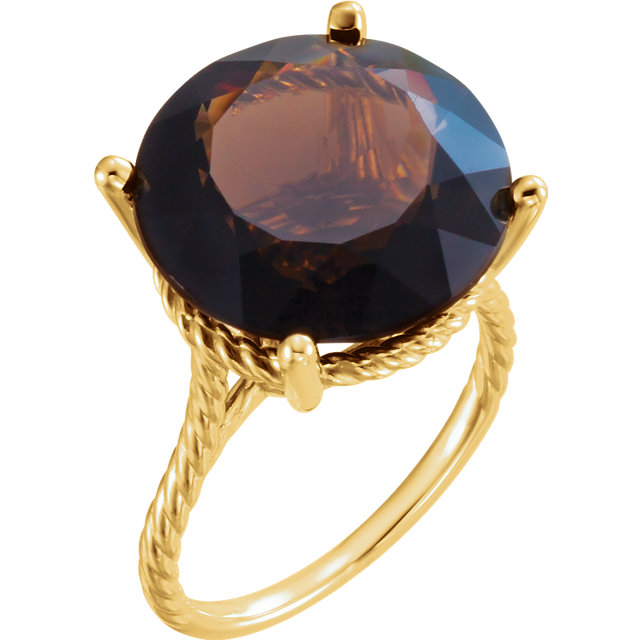 Great Buy in 14 Karat Yellow Gold Smoky Quartz Ring